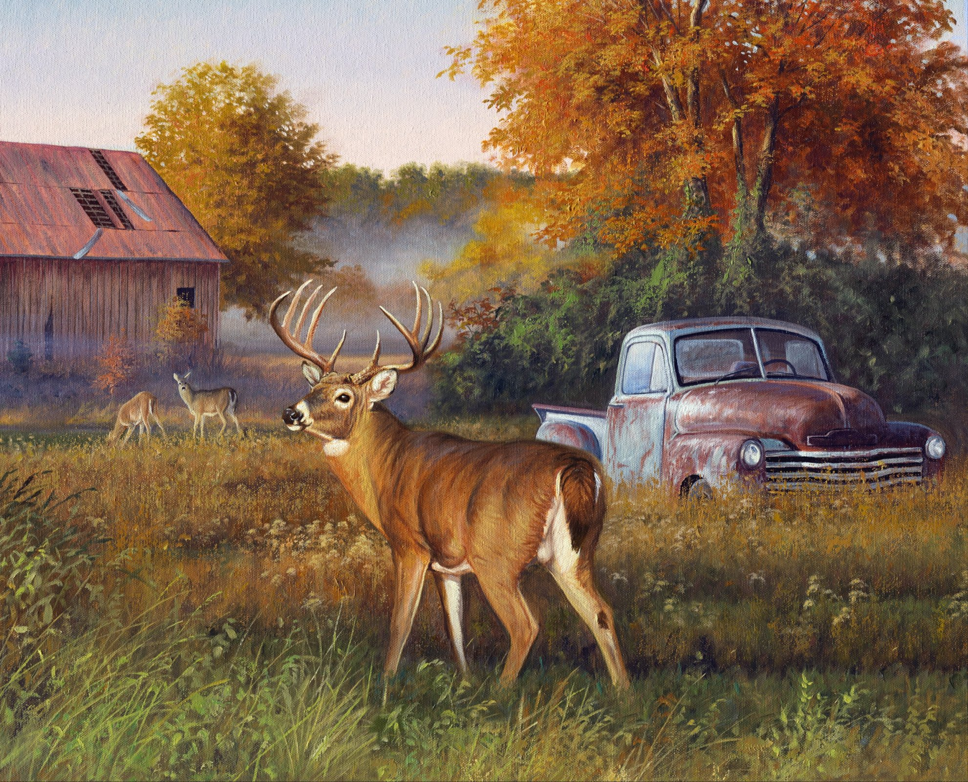 DT-David Exclusives - AL-3942-1 Deer Vintage Panel