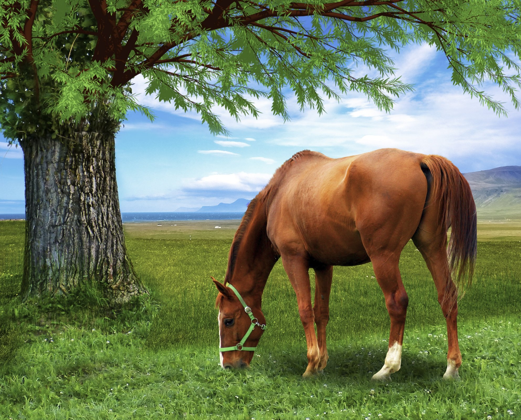 DT-David Exclusives AL-3975-9C-1 Horse & the Tree Panel