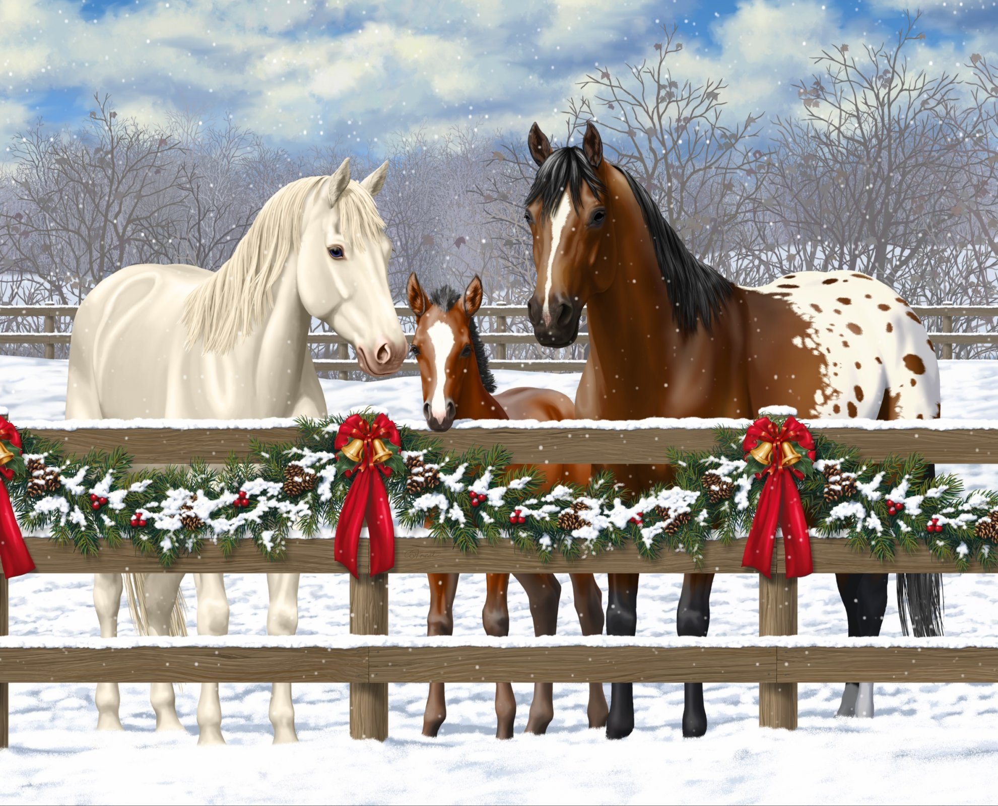 DT-David Exclusives AL-3979-9C-1 Horse Family Panel