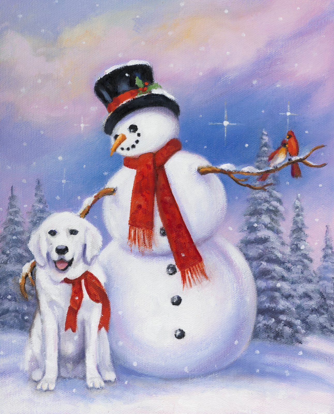 DT-David Exclusives - AL-4027-1 Snowman & Dog Panel