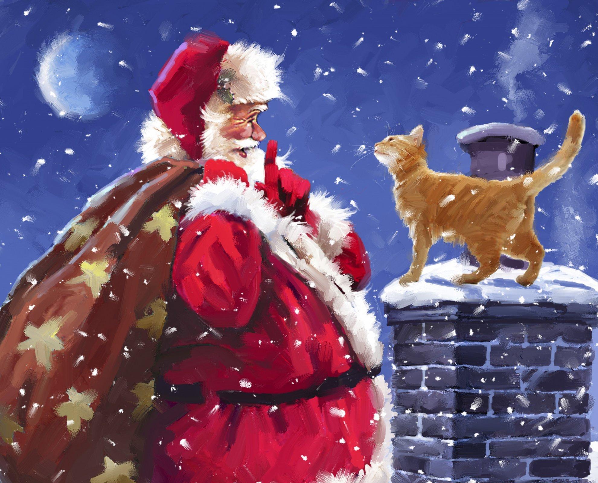 DT-David Exclusives - AL-4029-1 Santa & Cat Panel