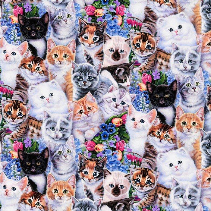 DT-Animal Love AL-3202-6C-1 Kittens & Flowers