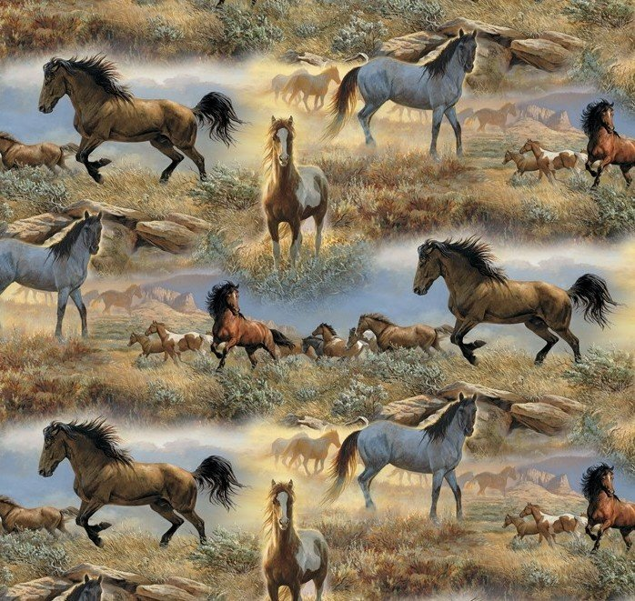 DT-Animal Tradition WW-3060-6C-1 Horses in the Prairies