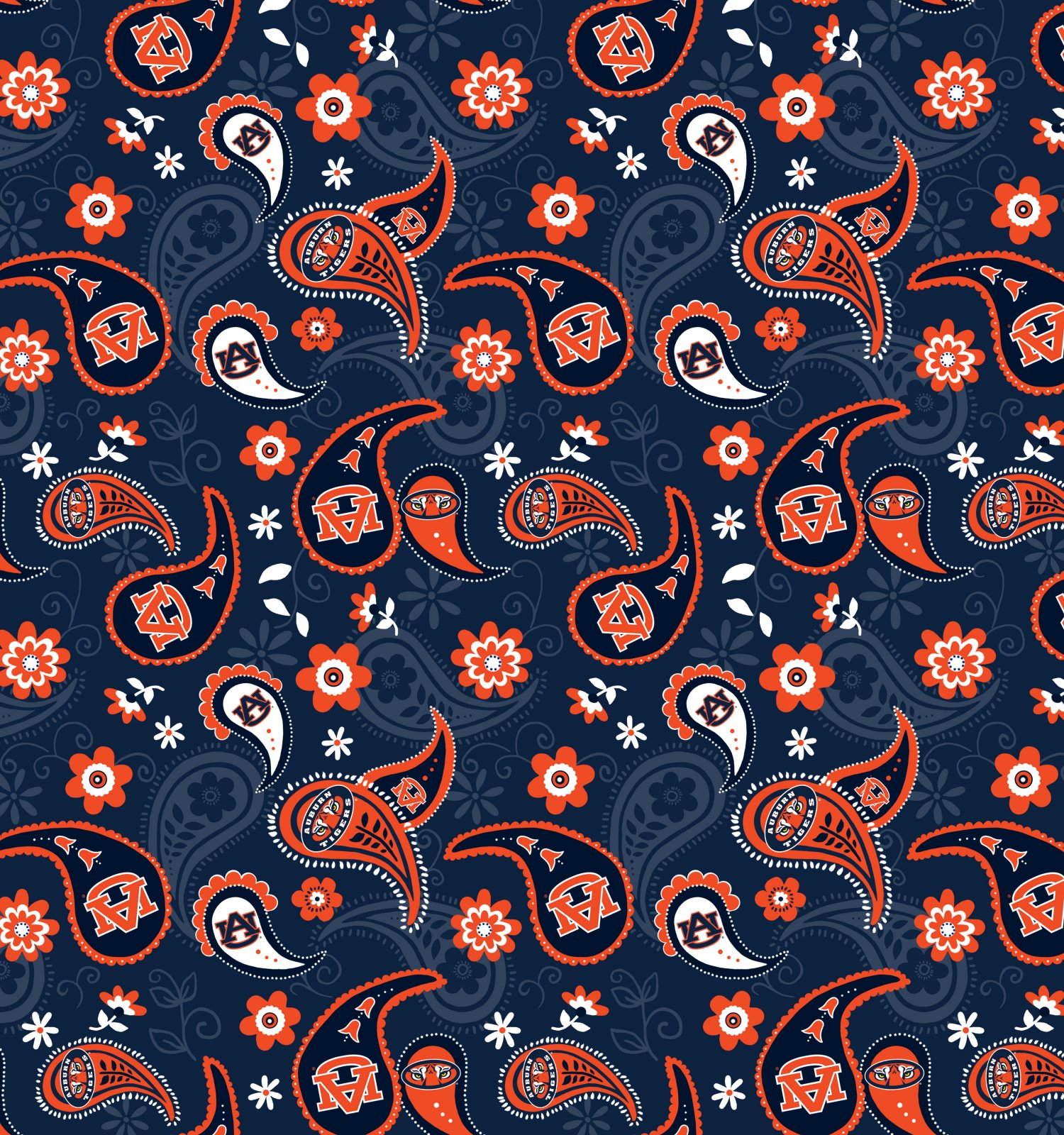 Auburn University AU-1200 Cotton/Paisley Print