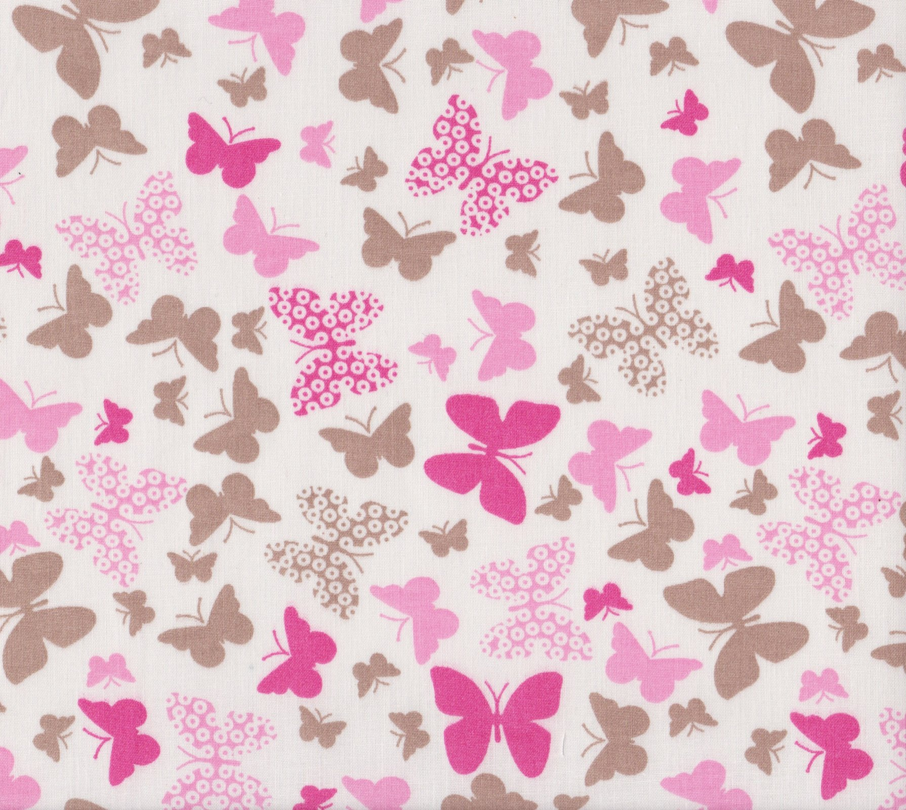 PROMO* FT-Novelty Prints - Pink & Taupe Butterflies