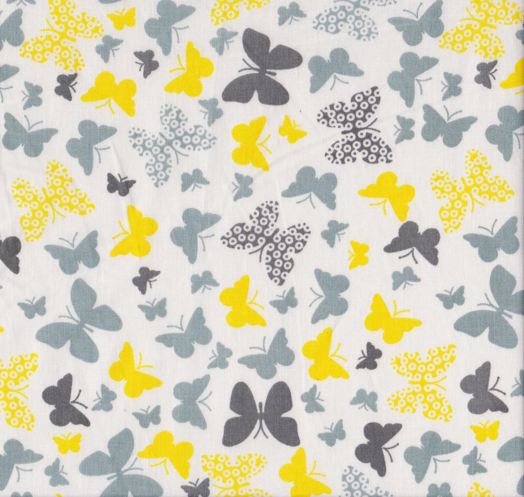 PROMO* FT-Novelty Prints - Yellow & Grey Butterflies