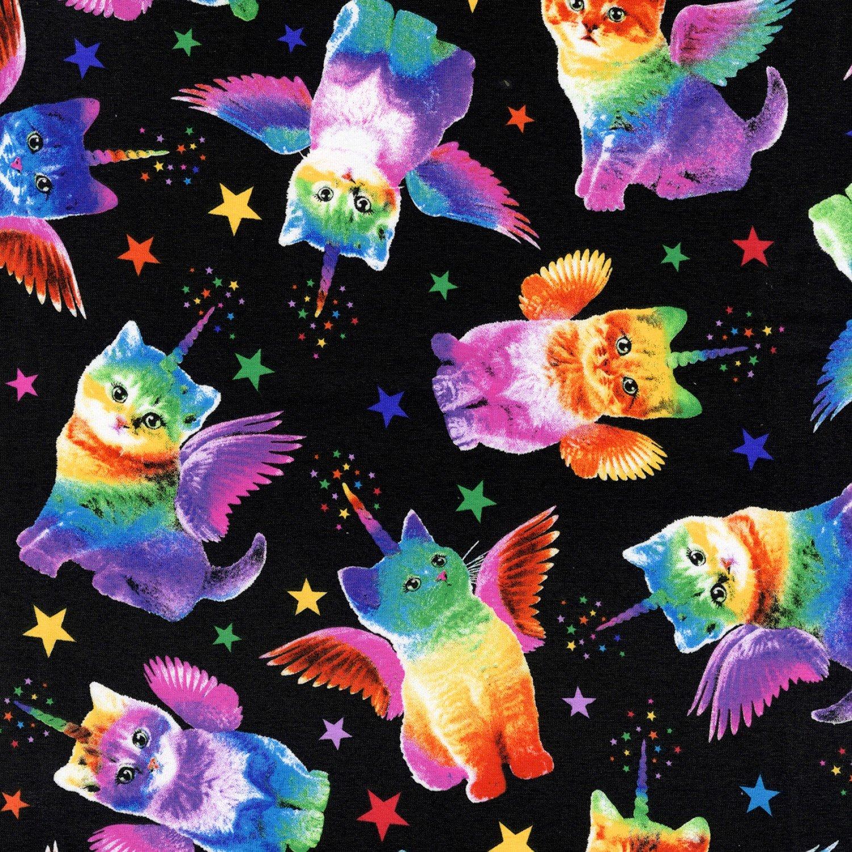 TT-WKnit CS7198 Black - Unicorn Cats on Knit