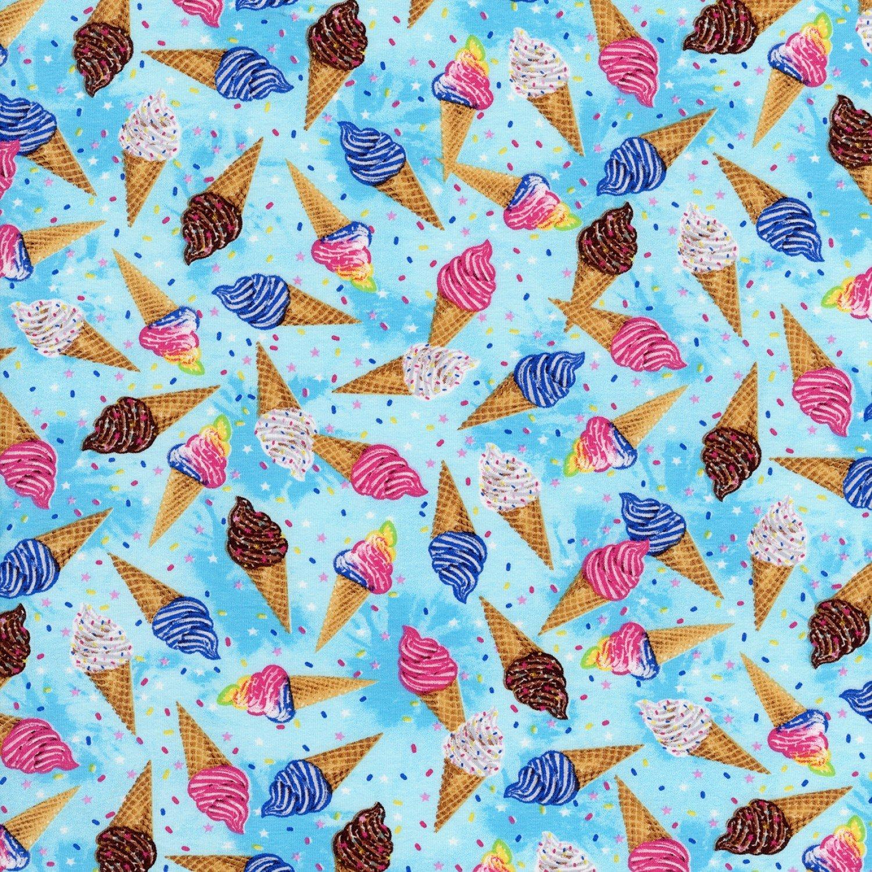 TT-WKnit CS7690 Blue - Ice Cream Cones on Knit