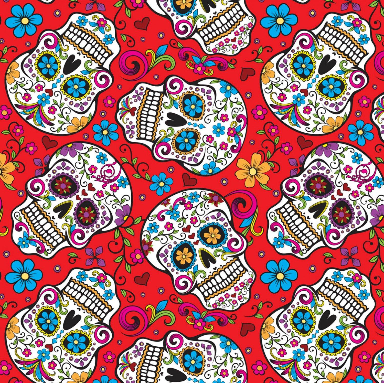 DT-Calaveras DT-2888-2C-1 Red - Folkloric Skulls