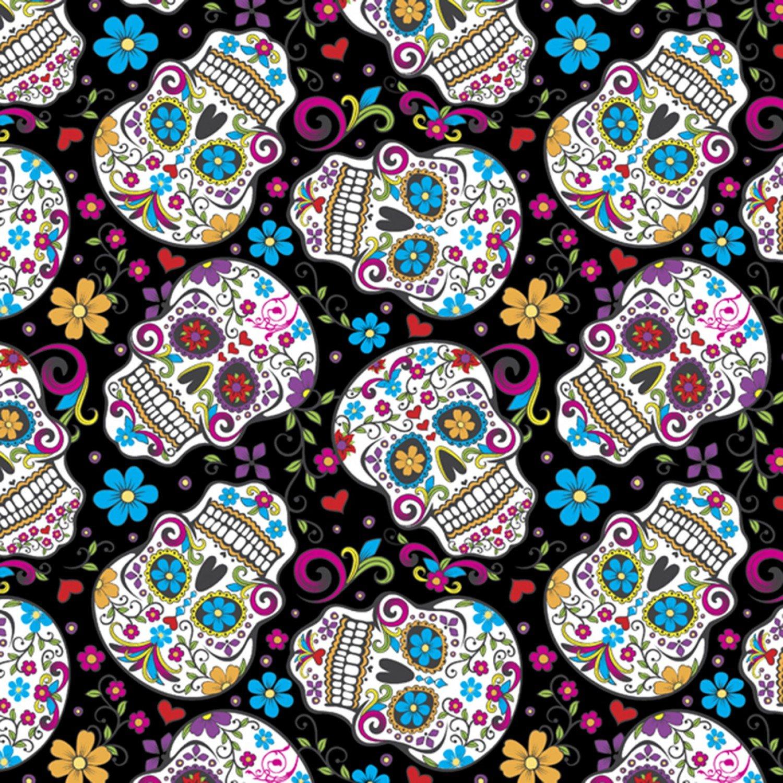 DT-Calaveras DT-2888-2C-3 Black - Folkloric Skulls