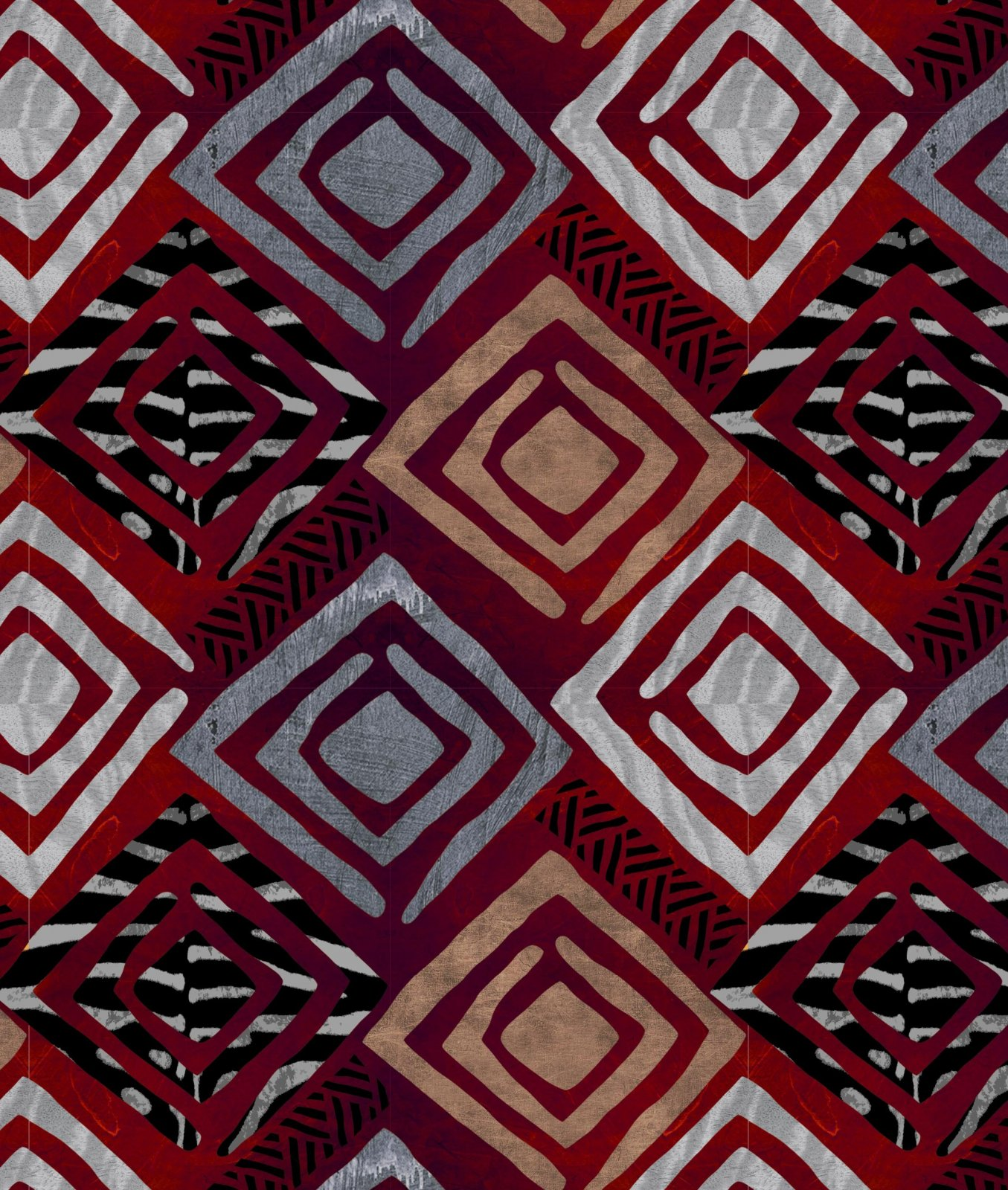 DT-Exclusive Digital Prints DT-5289-0C-2 Deep Red/Grey - South African Arts