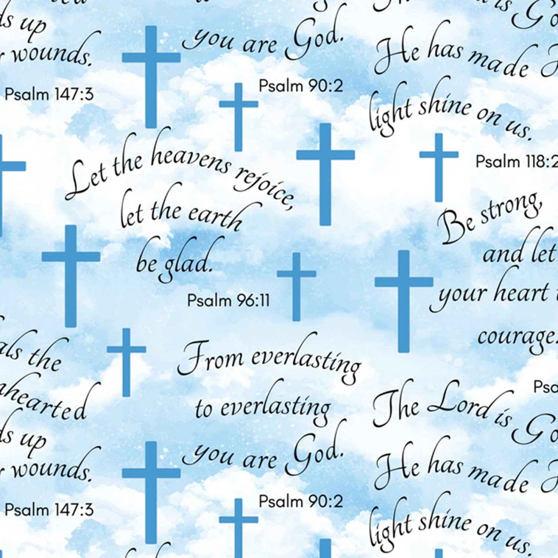 DT-Novelty Fleece DX-2263-0A-1 Blue - Faithful Psalms Clouds