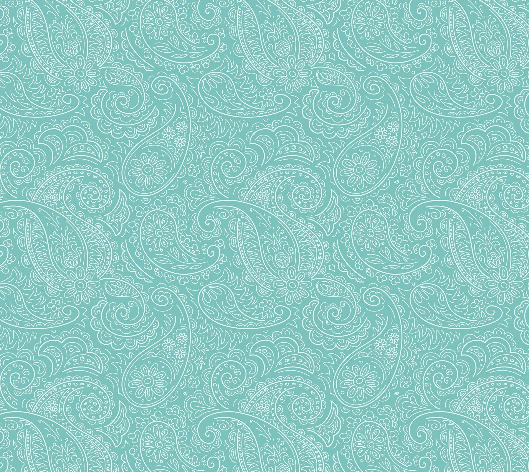 DT-Prima Meadows DX-1784-0C-1 Turquoise - Drawn Paisley