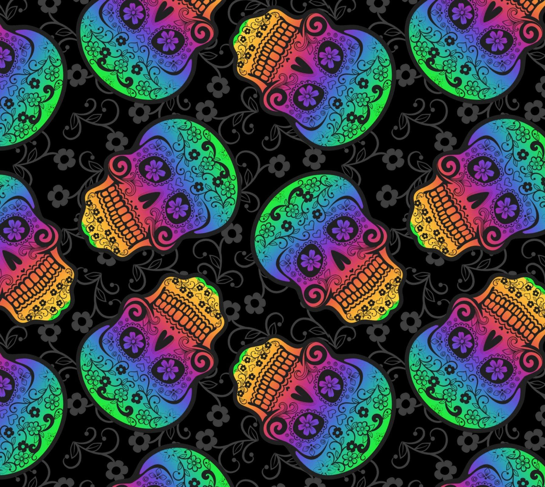DT-New Novelty DX-2268-0C-2 Black - Rainbow Skulls