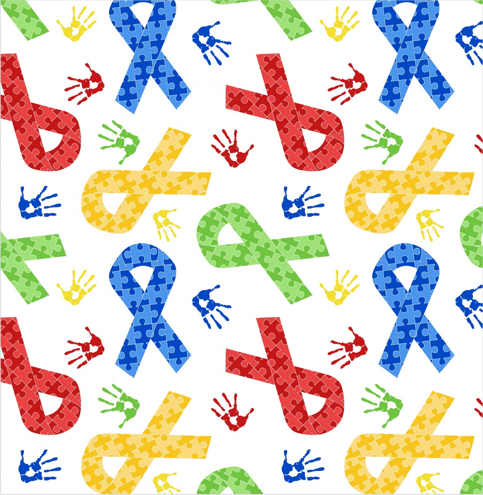 DT-Foust Exclusive Digital Prints DX-2549-0C-1 White - Puzzle Ribbons and Hand Prints