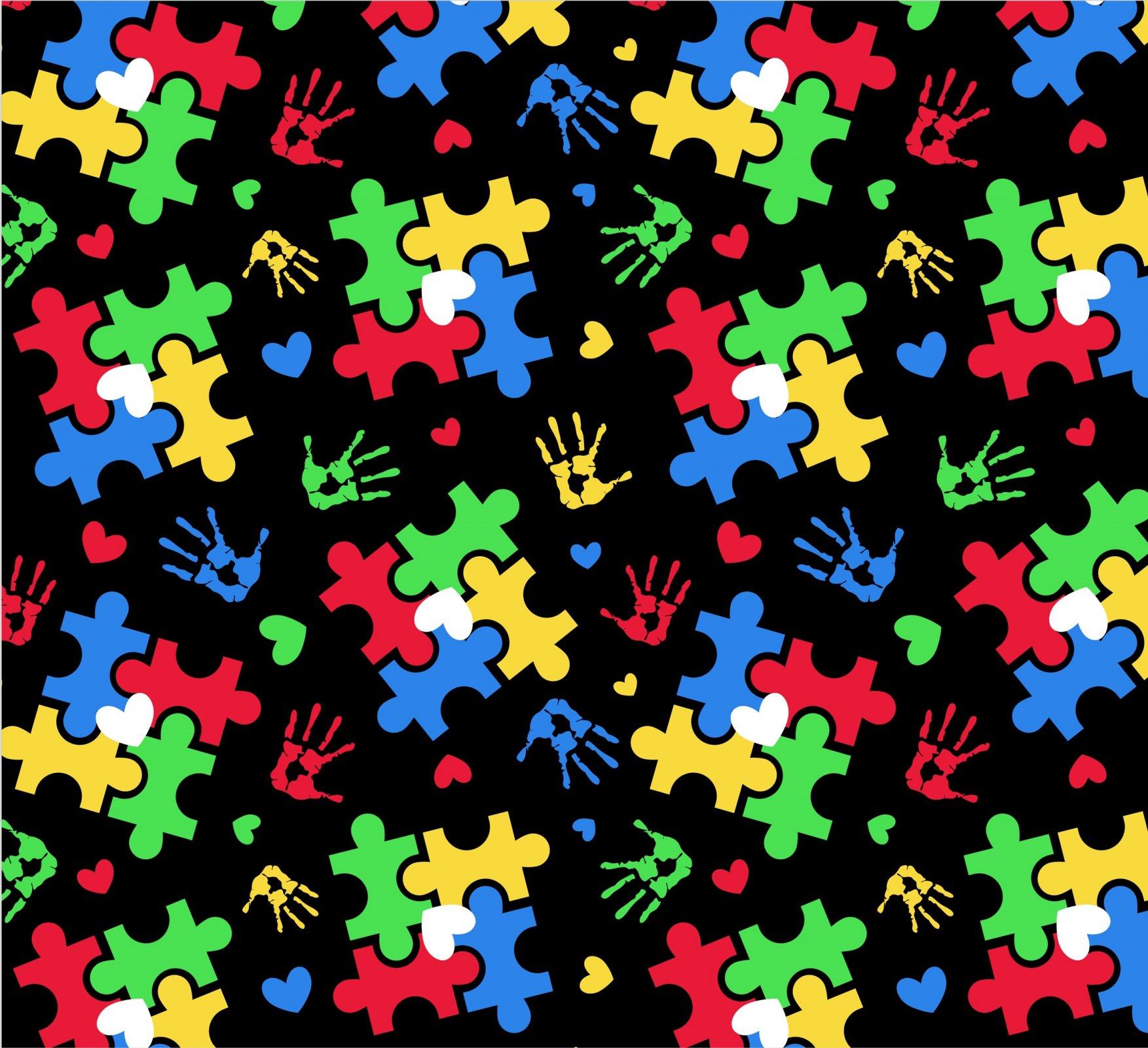 DT-Foust Exclusive Digital Prints DX-2581-0C-2 Black/Multi - Puzzle Toss and Hearts