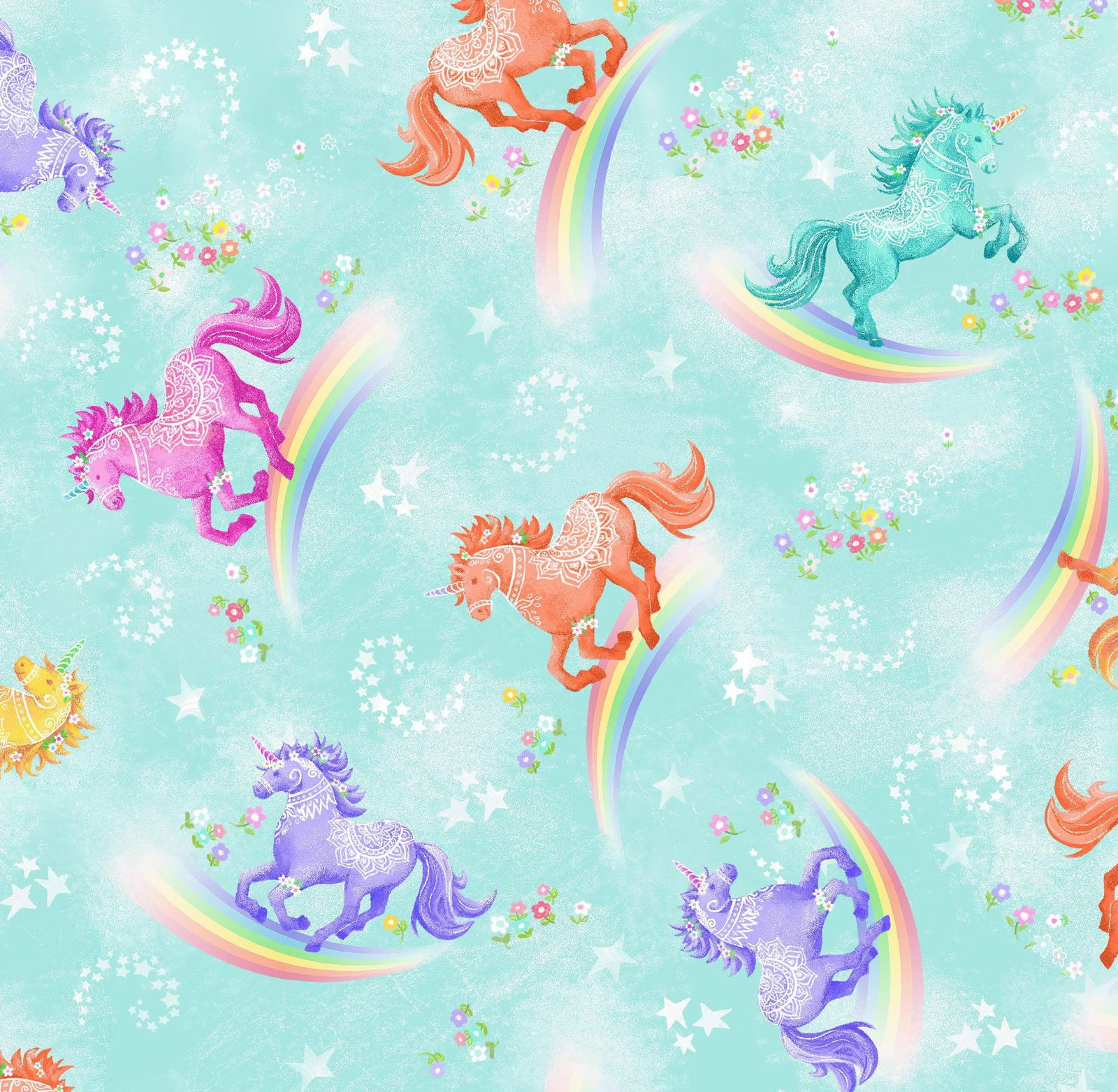 OF-Fun Flannels (2) 44-3181 Aqua - Unicorns