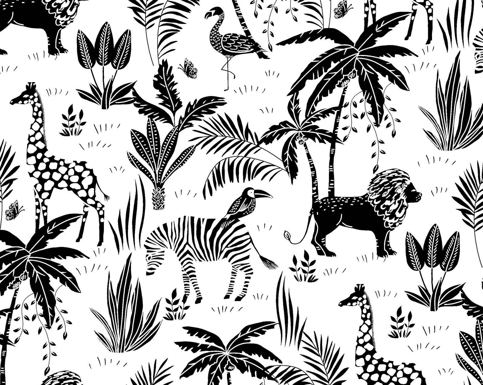 OF-Fun Flannels (2) 44-3261 Black & White - Jungle