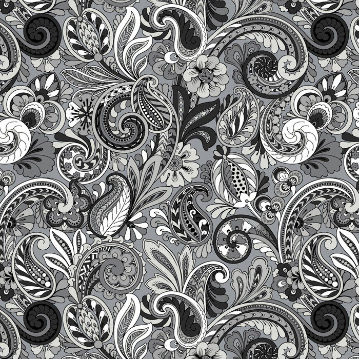 DT-Bali Beauty HM-2002-4C-5 Black/Grey - Paisley Sorbet