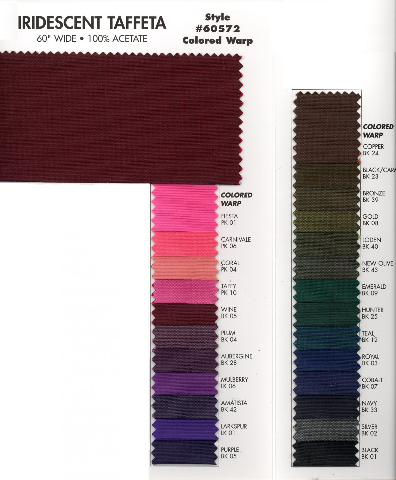 Iridescent Taffeta Colored Warp  Style # 60572