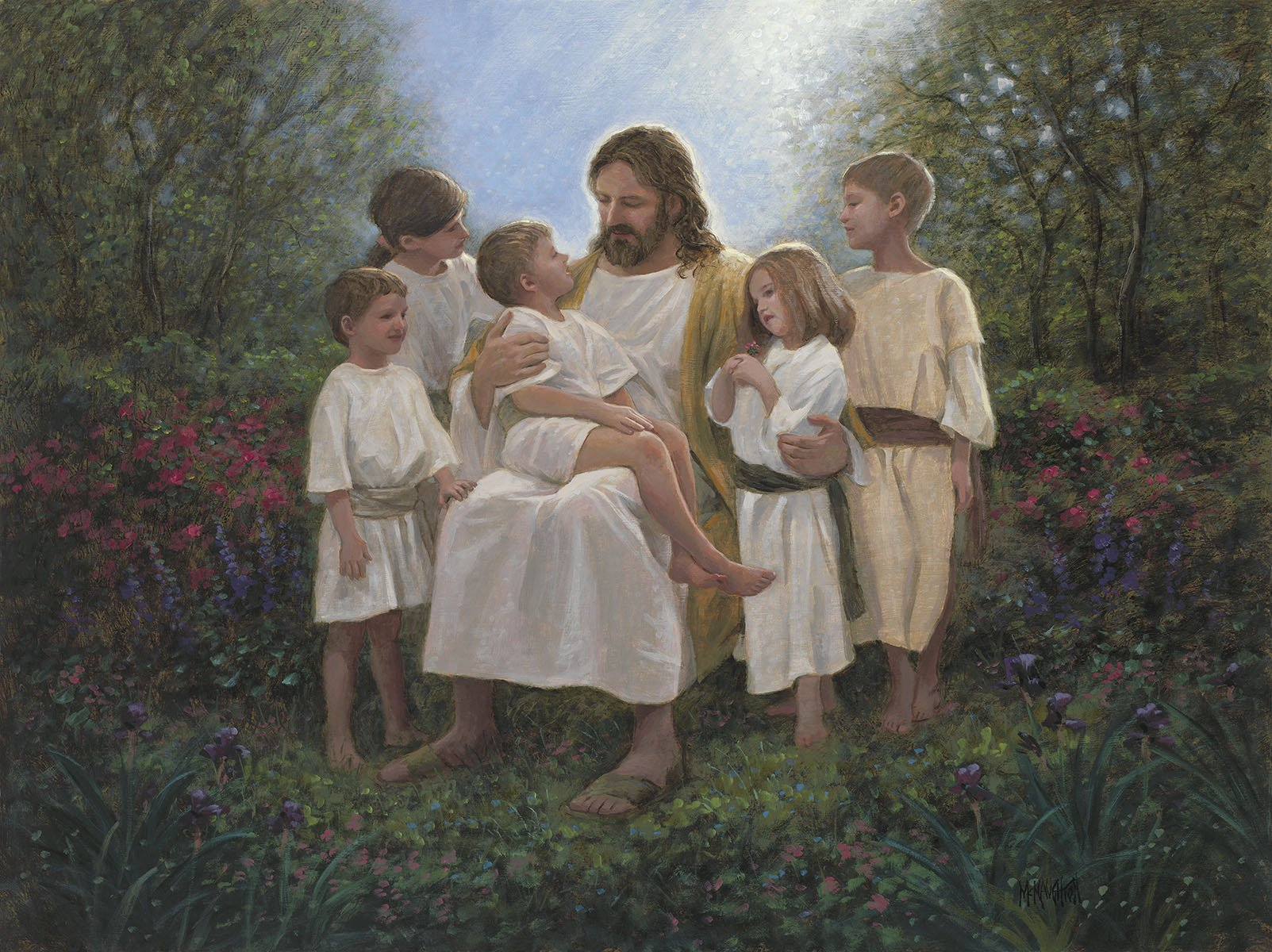 DT-Digital Prints AL-3761-1 Multi - Jesus with the Children 36 x 44 Panel