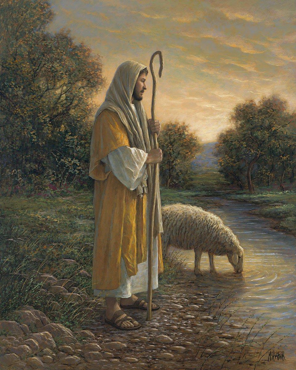 DT-Digital Prints AL-3762-1 Multi - Good Shepherd/Jesus and Sheep 36 x 44 Panel