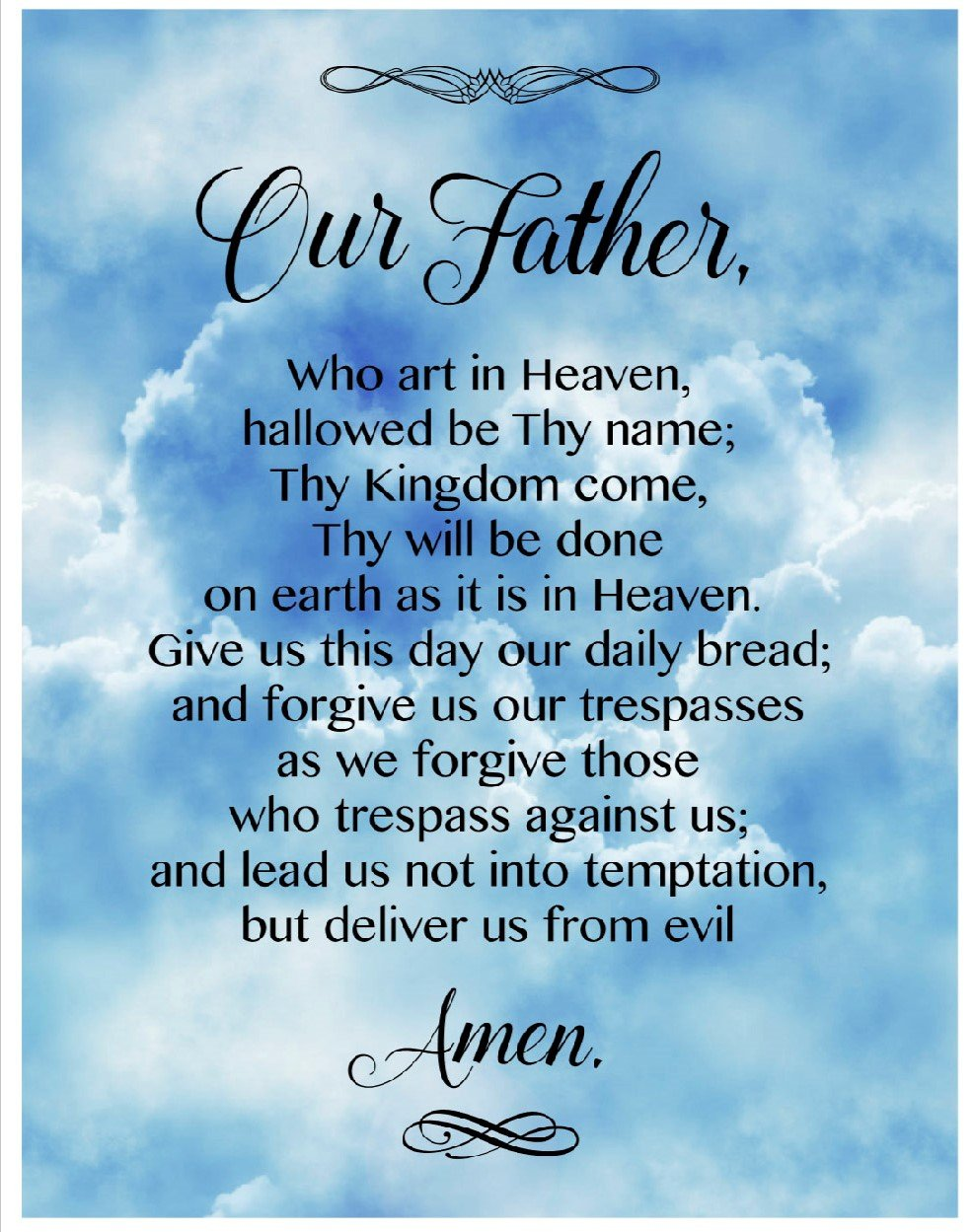 DT-Digital Prints DX-1349-1 Blue/Multi - Lord's Prayer 44 x 36 Panel
