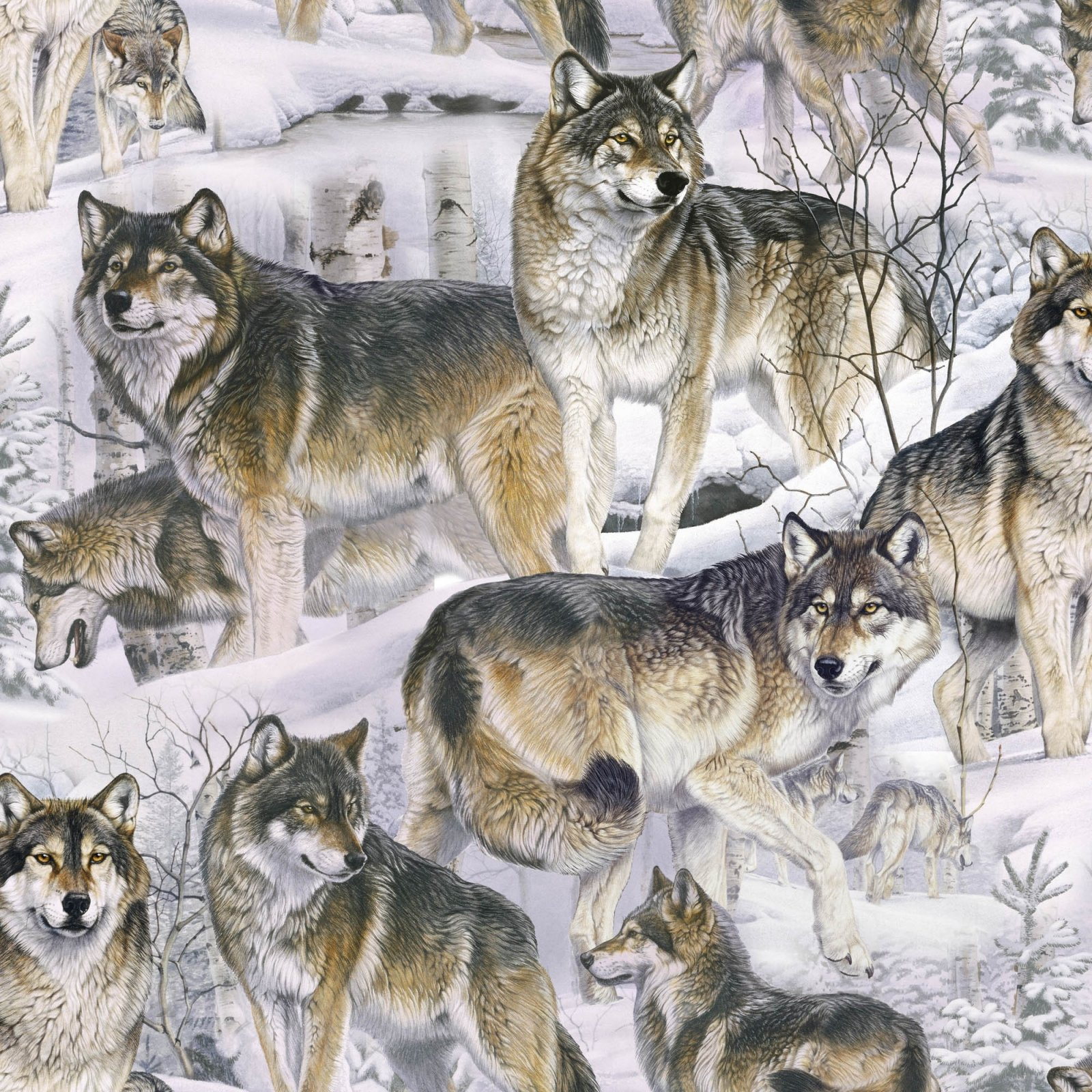 DT-Animal Love ML-2076-3C-1 Lt Gray/ Brown - Wolves in the Snow