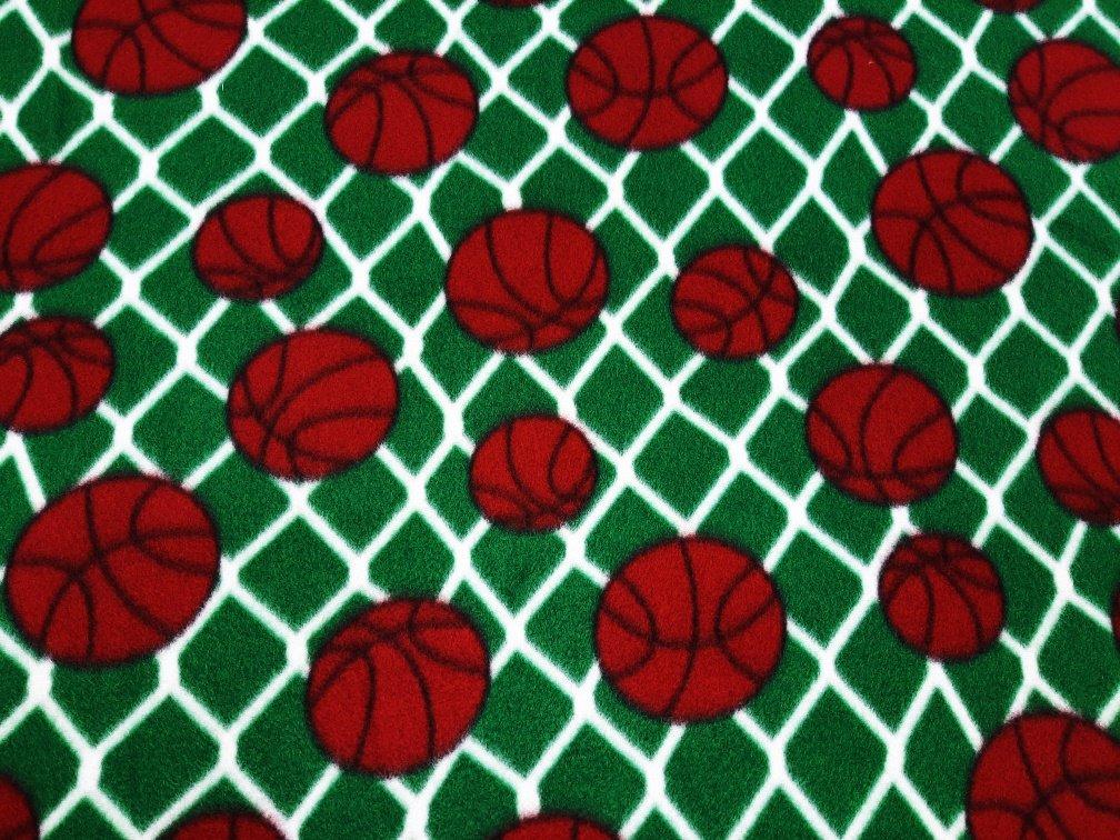 PROMO* FT-Sports Ball Fleece Prints MFP-303-30 Green/White - Basketballs