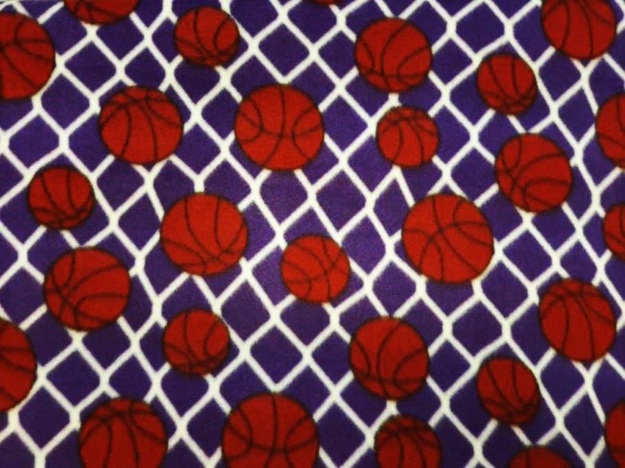 PROMO* FT-Sports Ball Fleece Prints MFP-303-60 Purple/White - Basketballs