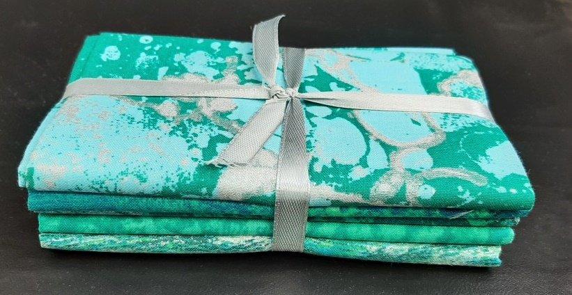 PROMO* FE-Fabric Palette Fat Quarter Bundles - Turquoise/Teal Metallic Elements Bundle