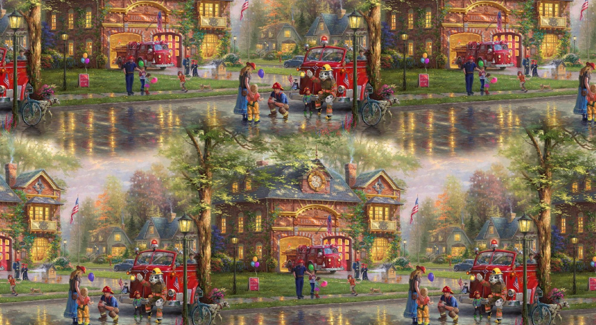 DT-David Exclusives TK-2040-CW1 Hometown Firehouse Allover Digitally Printed