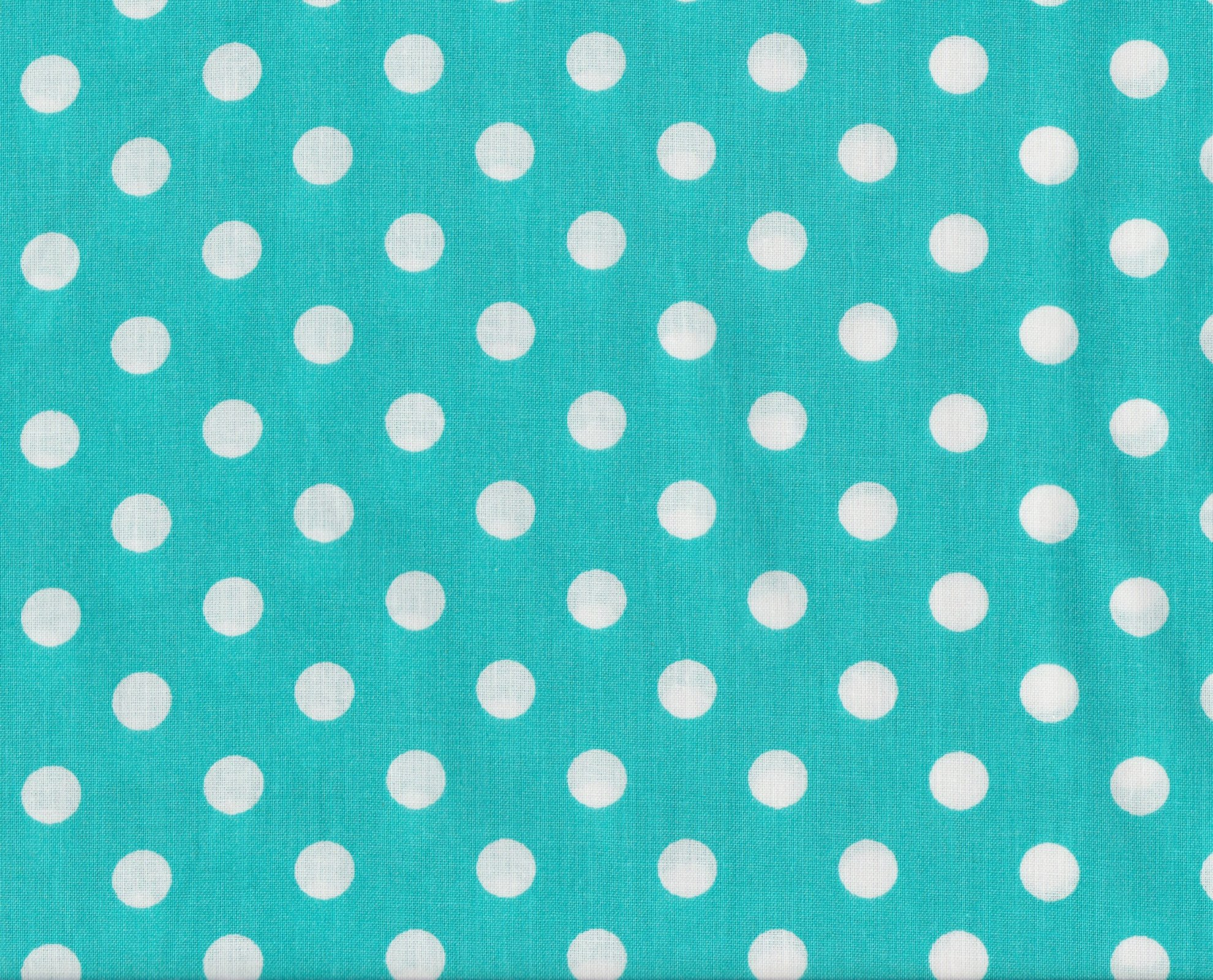 PROMO* FT-Novelty Prints - White Polka Dots on Turquoise