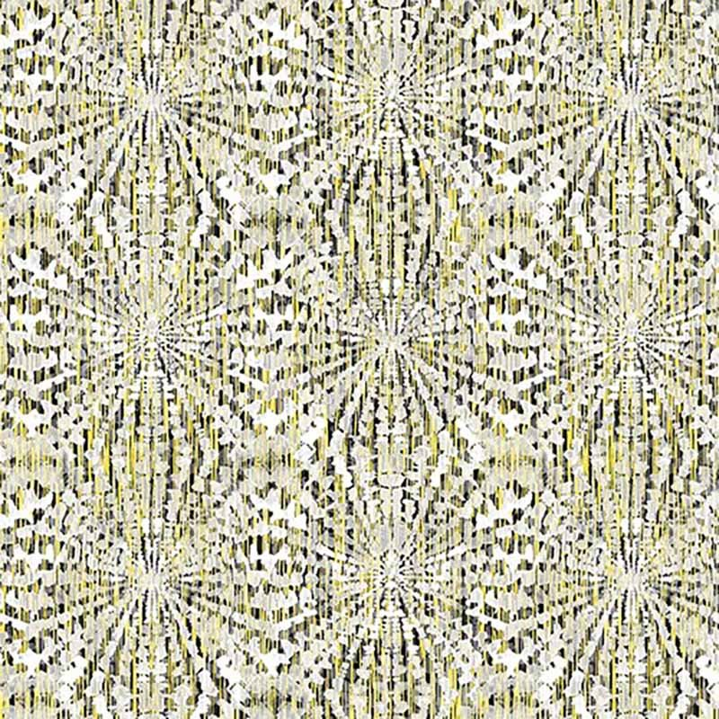 Black White & Citrus - Starburst Texture White/Yellow 2193-13