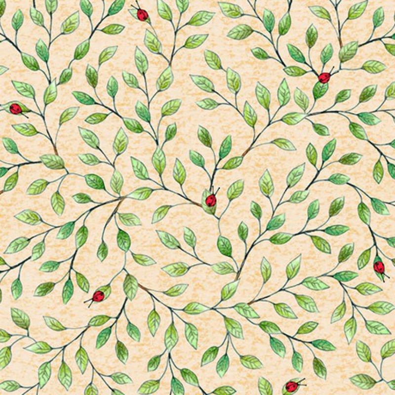 SALE Hangin' Out - Ladybugs on Leaf Vine Chamois 25996-E
