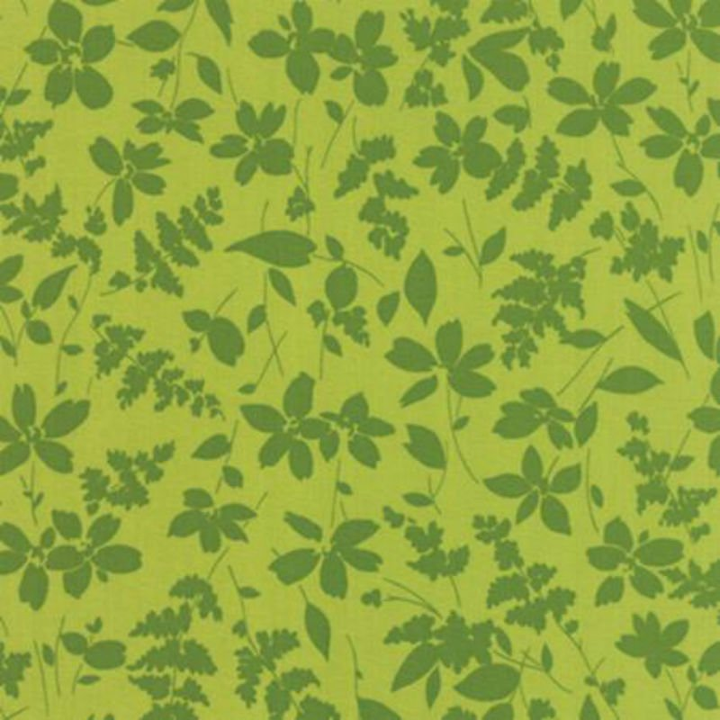 Basic Mixologie - Dark Green Silhouettes of Flower & Leaf Sprigs on Green M 33021-27 Chartreuse