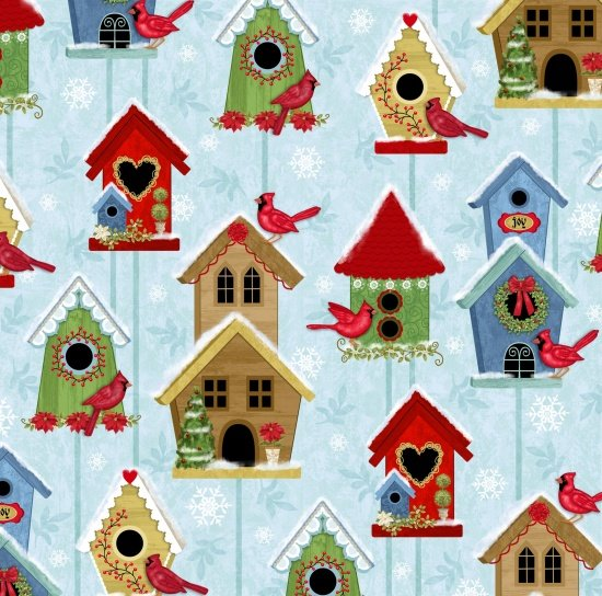 SALE Winter Joy - Bird Houses Lt Aqua/Blue 3803-16