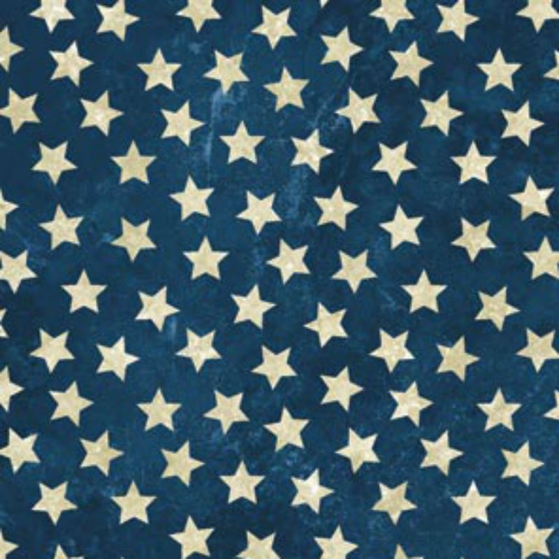 Stonehenge Land of the Free - Cream Marble Stars on Marbled Dark Blue N 39101-49 Navy