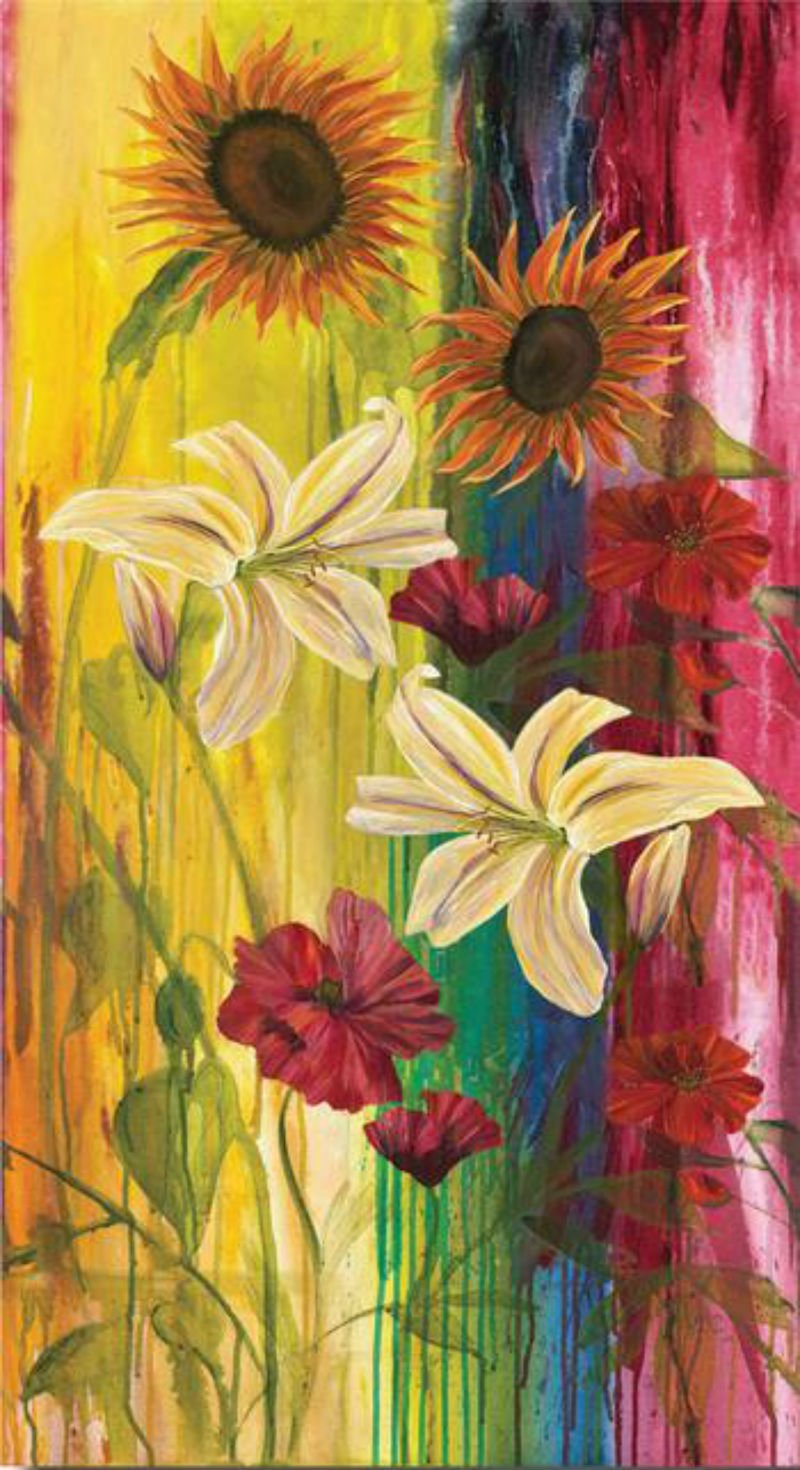 CANVAS - Large Red and Yellow Flowers on Grass Background F 611-06