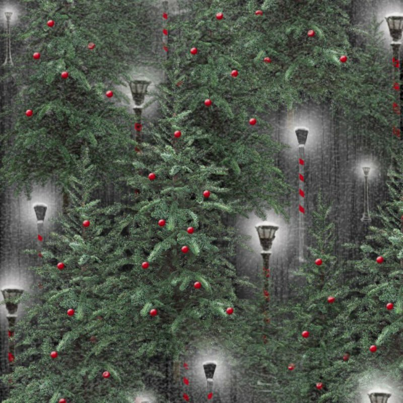 SALE Holiday Wishes - Lanterns Green 6927-66