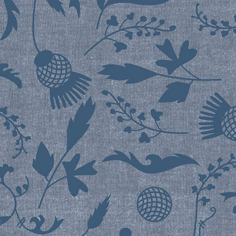 Ex Libris Print Chambray - Navy Leaves Flowers & Vines on Navy Chambray A 7866-LB Navy