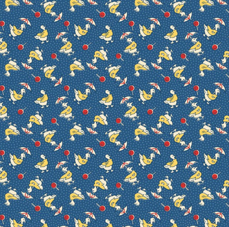 Summer Days - Red Dots & Yellow & White Ducks with Umbrellas on Blue Background with Blue Dots W 98571-453