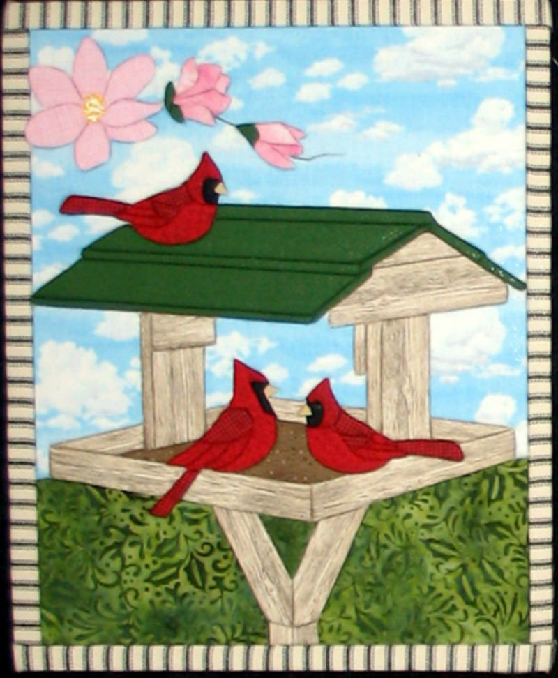 Cardinals in the Spring - No Sew Quilt Wall Hanging 12 x 16