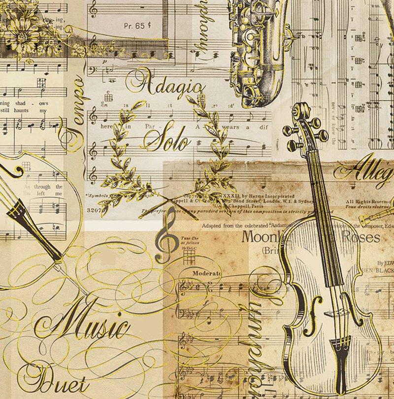 Music - Musical Patchwork w/Metallic CM7307-Antique