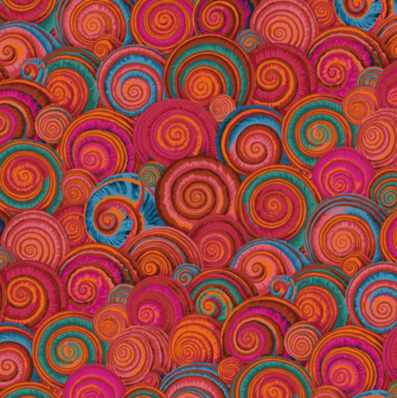 Kaffe Fassett Collective Fall 2017 - Spiral Shells Orange PWPJ073-ORANG