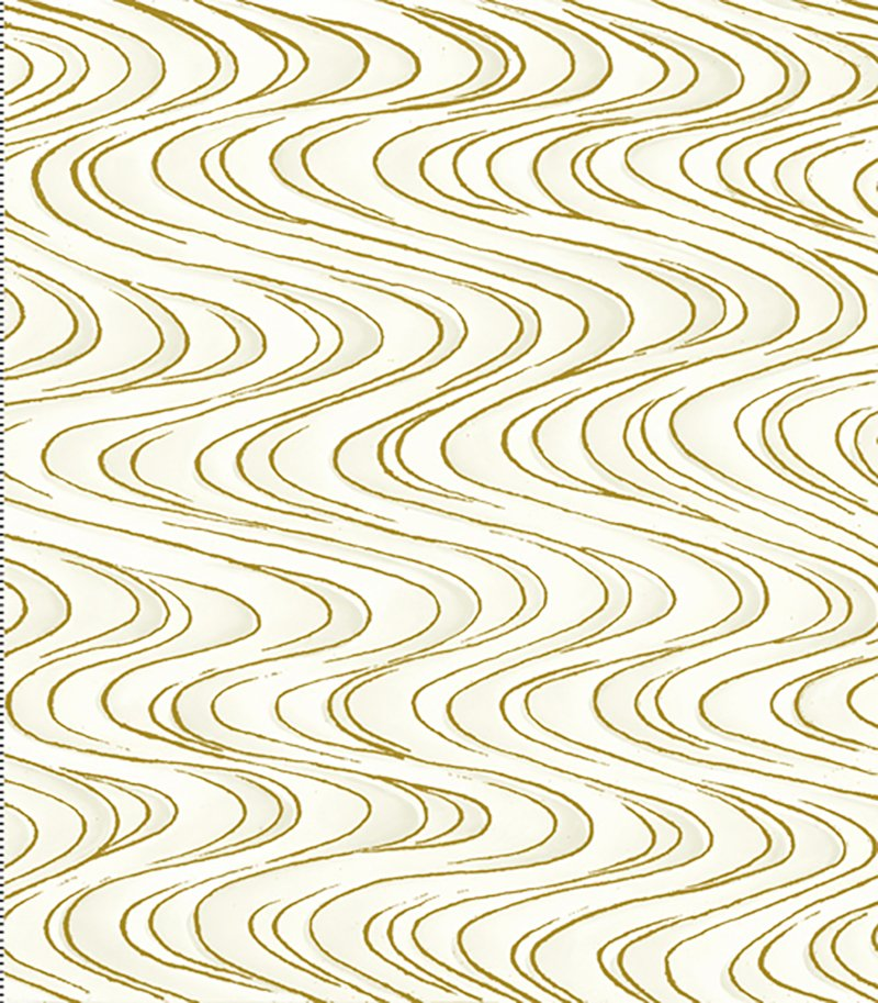 Tone It Up - Rippling Waves Gold Metallic on White TONE-02 Cream