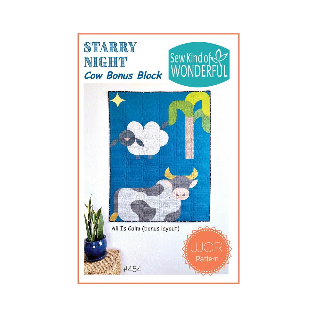 Starry Night Cow Bonus Block - Sew Kind of Wonderful