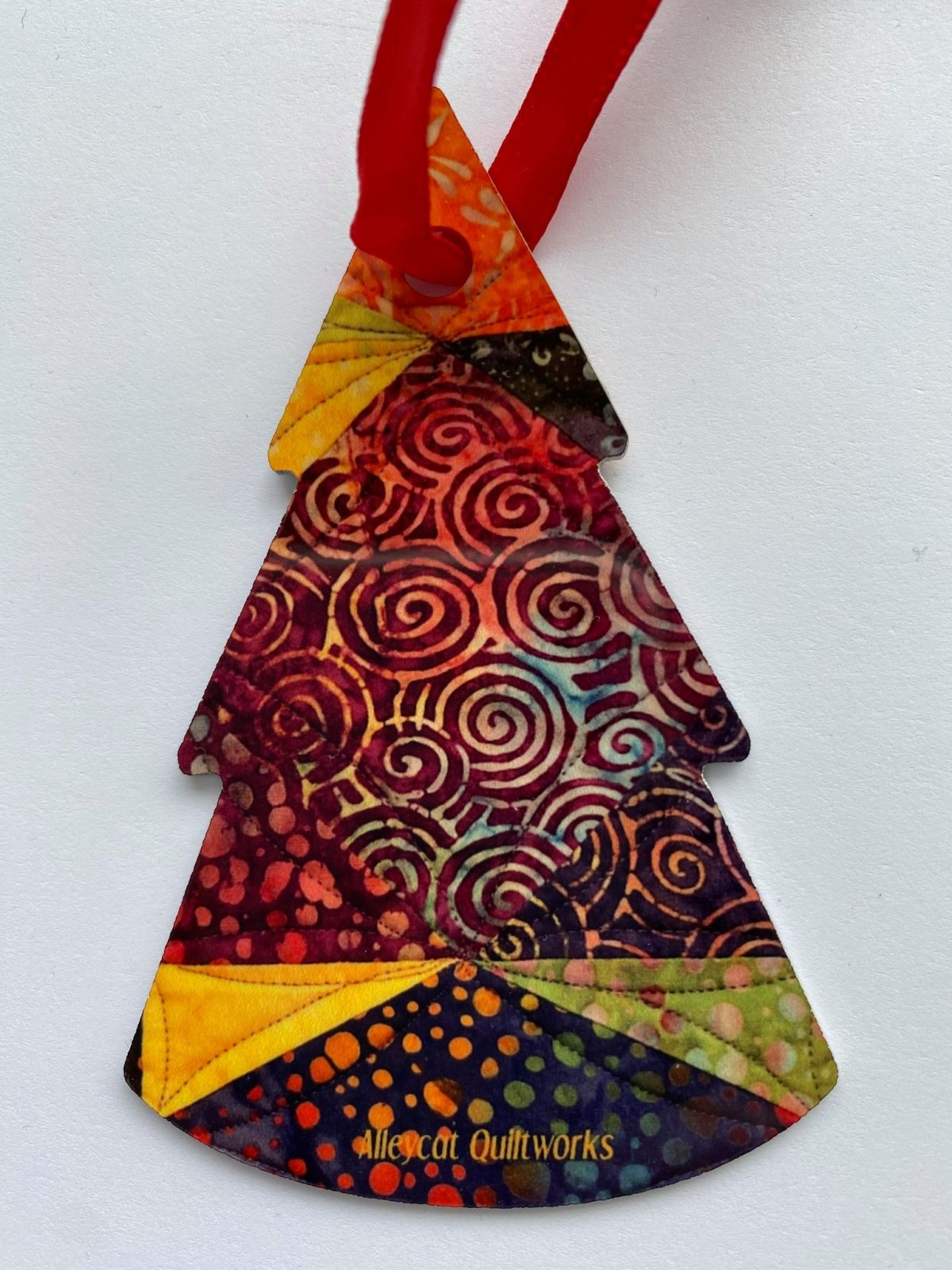 Metal Ornament - Batik Fabric - Tree