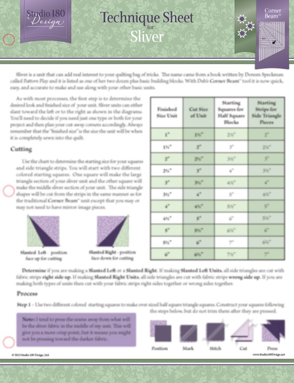Sliver Technique Sheet - Deb Tucker - Studio 180 Design