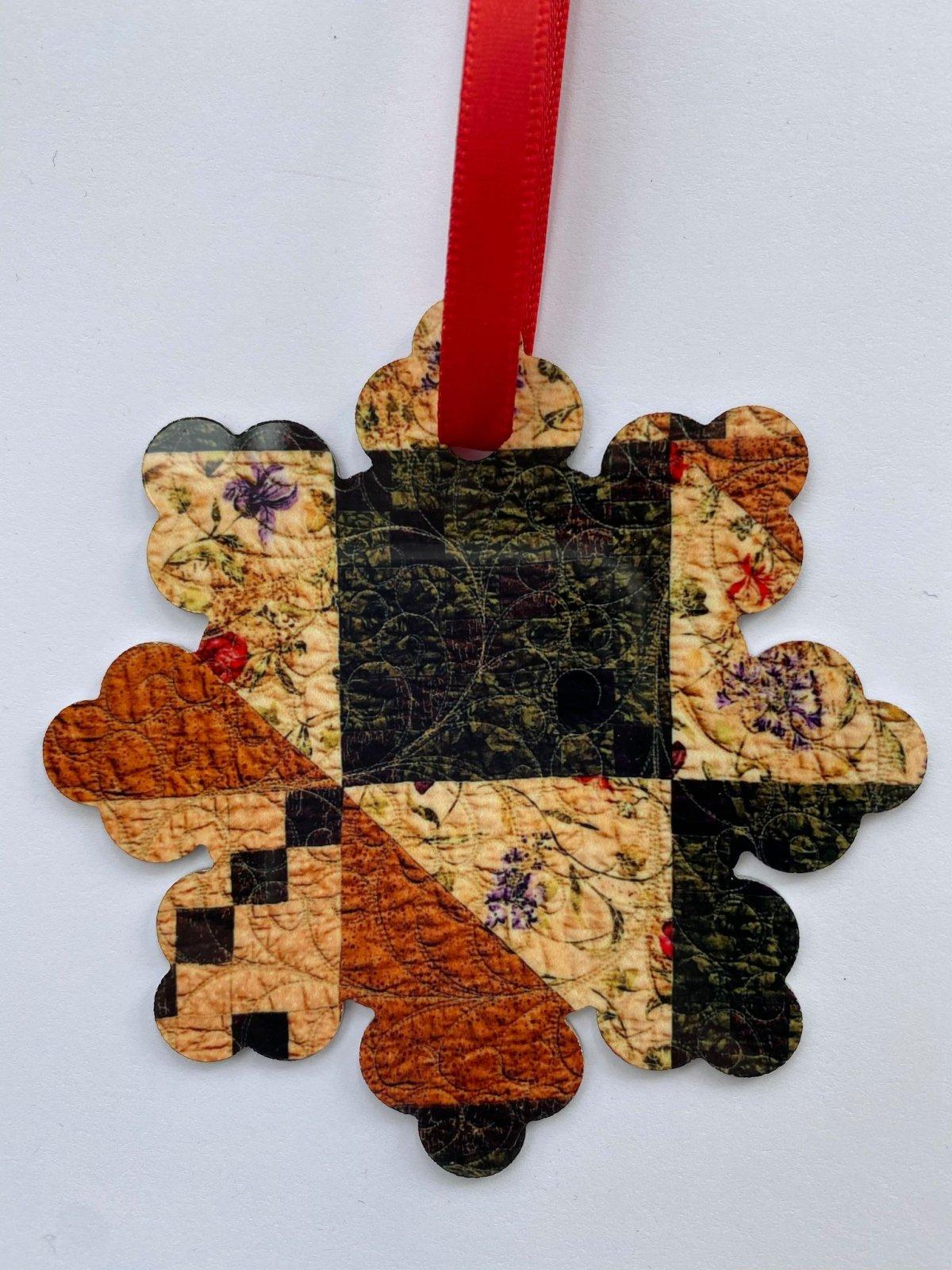 Metal Ornament - Kim's Quilt - Snowflake
